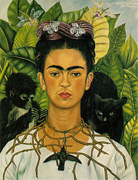 One of many self-portraits of Frida Kahlo.