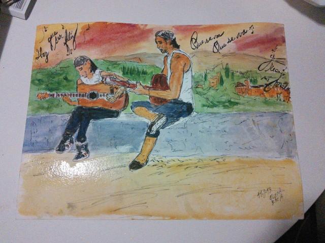 dos gitanos tocando la guitarra en el Albaicin